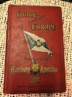1913 Guide Through Europe by the Hamburg-Amerika Line; ads, maps; vintage book
