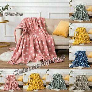 Star Teddy Throw Blanket Fleece Star Pattern Luxury Sofa Bed Soft Warm Christmas