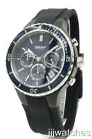 New DKNY Chronograph Blue Dial Date Black Rubber Men Watch Date 45mm NY1469 $195