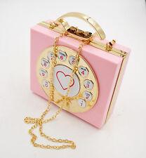 funny 3d telephone shape shoulder bag kawaii pink clutch handbag Perspex chain