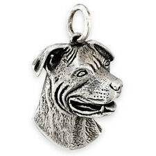 More details for solid sterling silver staffordshire terrier (staffy) dog pendant (also in gold)