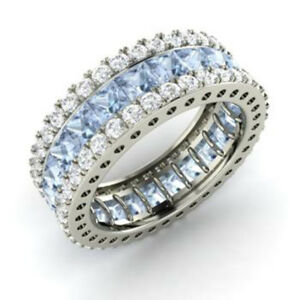 5.56Ct  Round Cut Natural Aquamarine Eternity Band 14K Solid White Gold Size 7 5