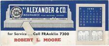 1947 Chicago Insurance Calendar Blotter -W.A. Alexander & Co.