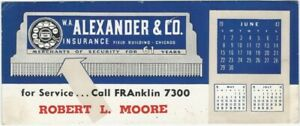 1947 Chicago Insurance Calendar Advertising Blotter for May June July