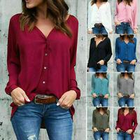 Elegent Women Long Sleeve Loose Blouse Casual Shirt Summer Chiffon Tops T-Shirt