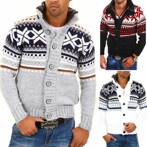 Herren Norweger Strickjacke Pullover Strick Jacke Strickpullover Grau/Weiß NEU