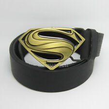 New Men of Steel Leather Mens Superhero Superman Metal Belt Buckle Bronze