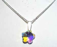"'AAA' GRADE AB RAINBOW CRYSTAL GLASS FLOWER PENDANT 18"" SILVER PLATED CHAIN"