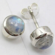 925 Pure Silver Original RAINBOW MOONSTONE Simple Stud Bestseller Earrings 0.8CM