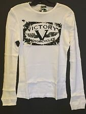 Ladies' Victory Motorcycle Long Sleeve Thermal T-shirt In White (Size Small) NWT