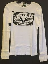 Ladies' Victory Motorcycle Long Sleeve Thermal T-shirt In White (Size XL) NWT