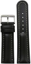 18mm Panatime Black Padded Saddle Leather Watch Band with White Stitching 115/75
