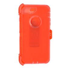 Clear Orange For iPhone 8 Transparent Defender Case w/[Belt Clip Fits Otterbox]
