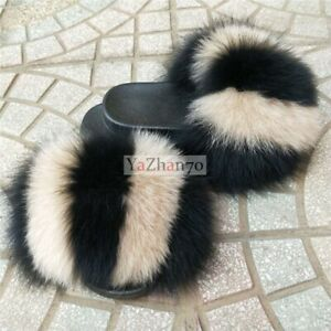 Real Fluffy Raccoon Fox Fur Slides Slippers  Women's  Sandal Outdoor Flat Shoes