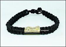 Tiger Thra Krud Talisman Thai Amulet Powerful Magic Protection Rope Bracelet #03