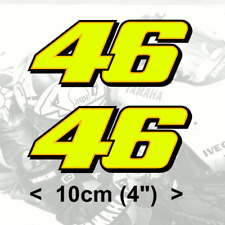 "Rossi Sticker Number 46 FLUORESCENT YELLOW vinyl (2011)  2 x 10cm 4"" stickers"