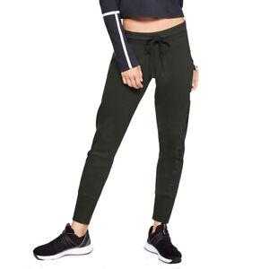 Under Armour UA Rival Cotton Fleece Dark Green Joggers Ladies Sports Pants S