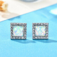 925 Silver Princess Cut White Fire Opal Stud Earrings Exquisite Wedding Jewelry