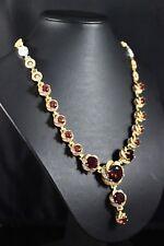 925 Sterling Silber Rubin Türkische Handarbeit Set Ohrring Ring Halskette 6-12