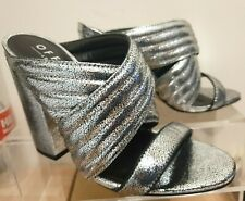 Office Womens Silver Mules Sierra Sandals UK 3 Chunky Heel Leather Upper KJF3N