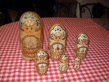poupées russes matriochka 7 pièces peint main  boite en bois