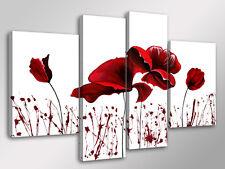 Quadro Moderno 4 pz. RED FLOWERS cm 140x95 arredamento casa fiori stampa su tela