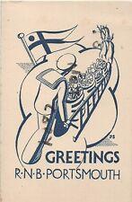 Stylish Xmas Greetings cards x2 1915 Royal Naval Barracks Portsmouth