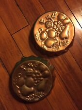 "Vintage Mid-Century Kitchen Copper Fruit Round Jello Mold Decor 7.5"" Set Of 2"