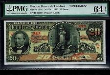 """Mexico RARE $20 Pesos""""SPECIMEN""""El Banco De Londres Y Mexico 1 De Oc-1913 PMG 64"""