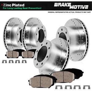 Front+Rear Drill Slot Brake Rotors & Ceramic Pads For 2013 - 2018 Ram 4500 5500