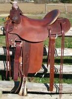 Western Leather Hand Carved & Tooled Roper Ranch Saddle With Suede Seat 201: 17""