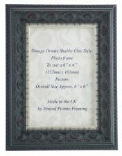 Black Ornate Shabby Chic 6x4 Inch Photo Frame With Silver Rim