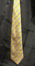 Mens Neck Tie Necktie Regular Size Ferrecci Uomo Italy Gold Yellow Blue Stripe