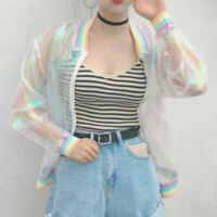 Summer Rainbow Bomber Jacket Symphony Hologram Clear Iridescent Laser Nice Sale