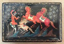 Russian Lacquer Box from Kholui Artist Signed Troika & Piper Scene