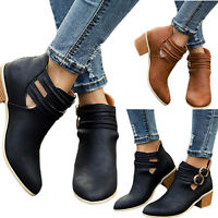 Womens Flat Ankle Block Boots Casual Buckle Side Leather Zip Warm Low Heel Shoes