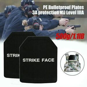 2 X UHMWPE Body Armor Level IIIA 10x12 Plates