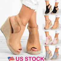 US Women's Summer Peep Toes High Heels Sandals Ladies Wedge Straw Shoes Size 4-8