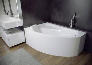 Offset Corner SMALL Bath SPACE SAVER 1300 x 850mm BATHTUB 130 X 85cm EXTRAS
