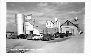 H56/ Russell Kansas RPPC Postcard c1950s Grain Center Elevator