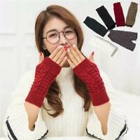 Unisex Men Women Knitted Fingerless Winter Gloves Soft Warm Mitten Solid Casual