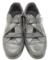 Ecco Black Leather Adjustable Strap Fashion Sneakers Shoes Men's 43 / 9 - 9.5