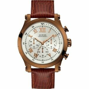 Guess Gents copper chronograph watch with sable leather strap W1105G2 RRP £179