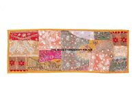 """INDIAN BEADED EMBROIDERY HEAVY PATCHWORK TAPESTRY WALL HANGING TABLE RUNNER 60"""""""