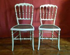 Paire de chaises anciennes Louis XVI  époque Napoléon III laquées blanc