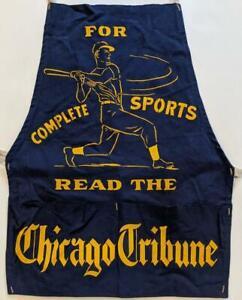 c 1950 CHICAGO TRIBUNE SPORTS NEWSPAPER CANVAS APRON w BASEBALL PLAYER GRAPHIC