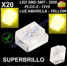 x20 Led SMD SMT 3528 PLCC-2 - 1210 Amarillo - Yellow - Alta Calidad - Automoción