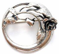 Danecraft Rose Sterling Silver Brooch 925 Vintage Round Flower Lapel Pin Signed