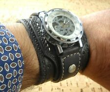 Steampunk Wrist Watch, Leather Watch, Skeleton watch,Cuff Watch Made in Italy