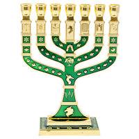 "Green Pewter 7 Branched Candle Holder Jewish Hanukkah Menorah Judaica 5""/12cm"